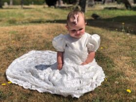 This bespoke christening gown was created from  Mum's cherished wedding dress.